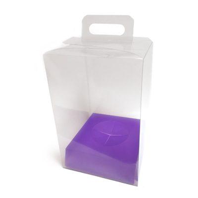 Caja de pvc transparente con asa y base en color lila