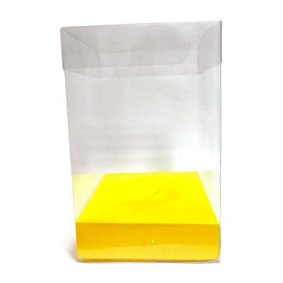 Caja de pvc transparente con base en color amarillo