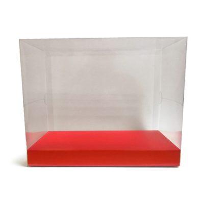 Caja de pvc transparente con base ancha en color rojo