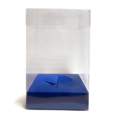 Caja de pvc transparente con base en color azul