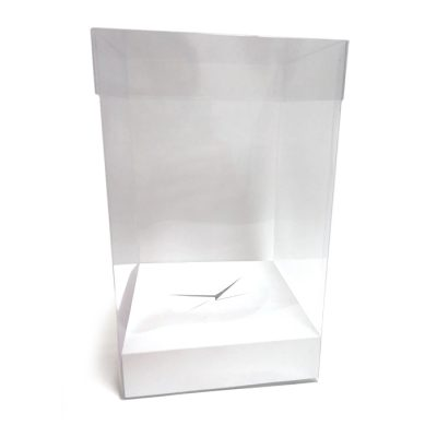 Caja de pvc transparente con base en color blanco