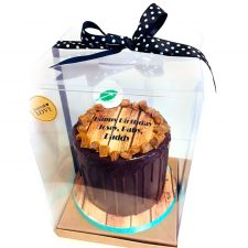 Caixa de pvc transparent per pastís amb llaç negre