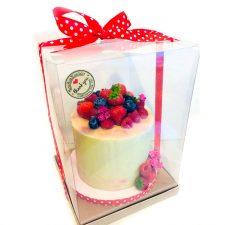 Caja de pvc transparente para pastel lazo rojo