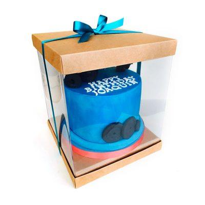 Caja de pvc transparente para pastel tapa y base cartón