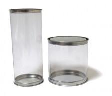 Cajas tubo de PVC transparente con tapa de aluminio